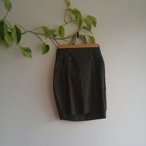 Gray Mini Pencil Skirt With Buttons